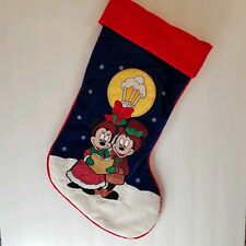 Disney Embroidered Blue Red Christmas Stocking Mickey Minnie Mouse Holiday 16""