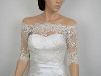 Off-Shoulder ivory Lace bolero jacket Half Sleeves Appliqued Wedding Jacket