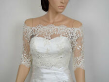 Off-Shoulder ivory Lace bolero jacket Half Sleeves Appliqued Wedding Jacket