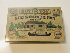 Roy Toy Miniature Log Cabin Building Set No. 9 The Camp SEALED NEW