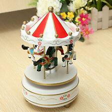 Wooden Horse Merry-Go-Round Music Box Christmas Birthday Gift Carousel Baby Toy