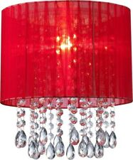 Red Organza & Hanging Beaded Ceiling Lampshade