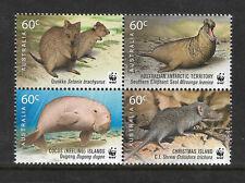 AUSTRALIA 2011 WWF NATURE Quokka Elephant Seal Dugong Shrew BLOCK of 4 MNH.