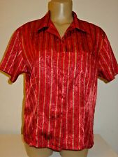 Victoria's Secret Vintage red gold stripe brocade sleep top shirt satin sissy-M