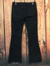 Paige Jeans Laurel Canyon Stretch Dark Wash Flare Denim Women's Sz 27 X 34 LONG