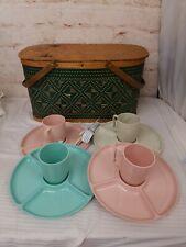 Vintage Burlington Basket Hawkeye Woven Green Picnic Basket Plates Cups Pie tray