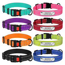 Nylon Reflective Dog Collar Personalised Pet Collars with Engraved Dog ID Tags