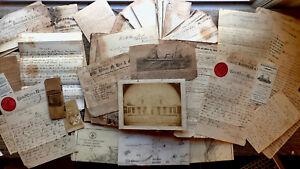 CIRCA 1868 -1888 HANDWRITTEN LETTERS LOG SCRAPBOOK USS HENRY BURDEN CAPT DENNETT