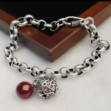 Women's 925 Silver Red Crystal And Bell Rolo Link Chain Bracelet Jewellery Gift