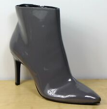M&S Grey PATENT High STILETTO Heel ANKLE BOOTS ~ Size 7 (rrp £45)