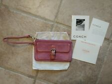 Coach Pink Suede Leather Wristlet Clutch w/ Patent Leather Accents Purse Wallet