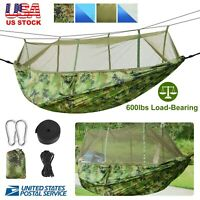 2 Person Camping Hammock w/ Bug Net Tree Straps Outdoor Hiking Camping Travel