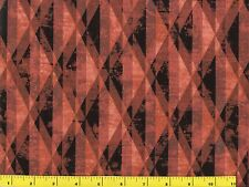 Reddish Orange & Black Striped Diamonds Quilting Fabric by Yard  #915