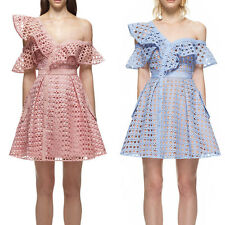 High Version Self SP Hollow Out Lace Frill Mini Evening Cocktail Dress Dresses