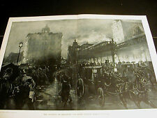 Crane Elevated Train BROADWAY 6th AVENUE HORSE CARRIAGES 1891 Large Folio Print