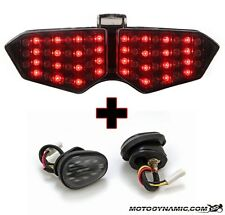03-05 Yamaha R6 SMOKE SEQUENTIAL Tail Light + Flush Mount LED Turn Signals COMBO