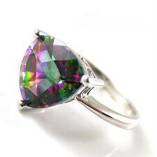 Sterling Silver 925 Trillion Green Purple Genuine MysticTopaz Ring Sz R.5 (US 9)