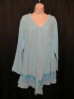 Gretty Zueger Pale Blue Tunic Top Artsy Embroidery Plus Size 1X 100% Cotton