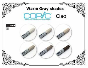 Copic Ciao Markers -Warm Grey Shades & Blacks Refillable With Copic Various Inks