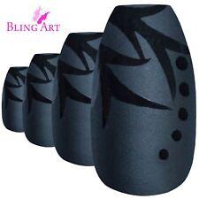 False Nails Black Leaf Matte Ballerina Coffin Bling Art Fake Tips 2g Glue