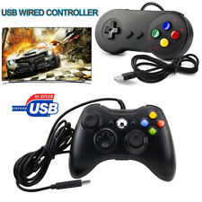 For Windows PC Games Xbox 360 & SNES Wired USB Controller Gamepad Joystick Black