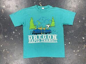 Oregon Rapid Transit Snoopy T Shirt Vtg Peanuts Charlie Brown Artex 70s 80s USA
