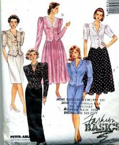 Cut Sewing Pattern Ladies Jacket Top Slim or Gored Skirt Size 12
