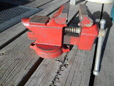 Vintage Red Fuller Bench Vise Anvilpipe Jawsswivel Base35 Jaws