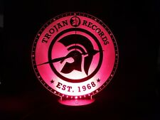 Trojan Records Acrylic Engraved LED Clock Night Light