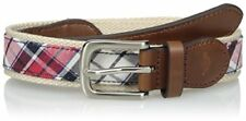 Dockers Boys' Big Casual Plaid Fabric Inlay Belt, Red, Large