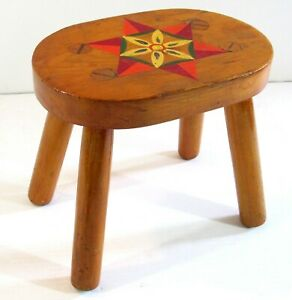 Country Primitive Handmade Oval Foot Stool Solid Maple Wood Hand Painted Design!
