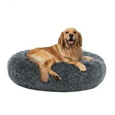 Calming Dog Bed Cat Bed Donut, Faux Fur Pet Bed X-Large(32''x24 '') Grey-Blue
