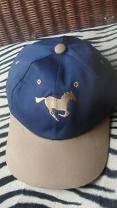 Horse riding cap natural horsemanship blue with embroidered galloping horse blue