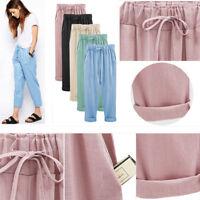 New Women High Waist Casual Linen Summer Long Pants Pencil Cropped Trousers #43