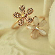 New Fashion Jewelry Gold Filled Daisy Crystal Rhinestone Ring Gift Adjustable E