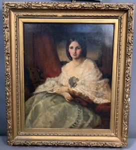 LG 19thC Antique VICTORIAN Era LADY PORTRAIT Old NEW YORK ESTATE Oil PAINTING