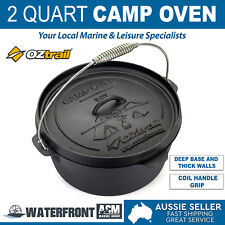 OZtrail 2 Quart Cast Iron Camp Oven Outdoor Camping Cooking Cookware Pan Pot