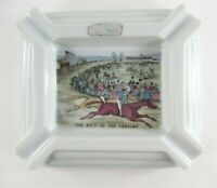 Vintage Currier & Ives Ceramic Ashtray The Race of the Century ~ Art Deco Style