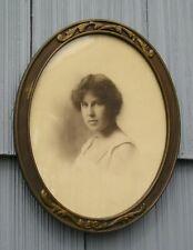 Vintage Art Crafts Nouveau Bronze Finish Oval Picture Frame 7 3/4 x 9 3/4