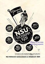 Motorrad NSU Reklame 1931 NSU Programm 1931 für Jedermann Neckarsulm Werbung +