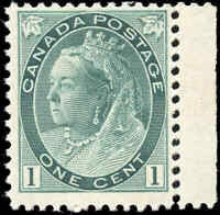 1898 Mint NH Canada F+ Scott #75 1c Queen Victoria Numeral Issue Stamp