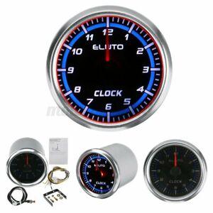 "2"" 52mm Clock Gauge LED Backlight Waterproof Car Marine Automotive Black Face US"