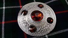 Celtic Fly Plaid Brooch Brown 5 Stone Chrome Finish/Scottish Kilt Plaid Brooches