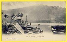 cpa 1900 Photo G. Brun à AIX (Savoie) LAC du BOURGET Le Petit Port Barques
