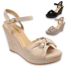 Tacón de Cuña con Plataforma de verano de mujer Punta abierta Zapatos Sandalias De Damas Talla 3 4 5 6 7 8