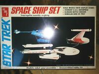 AMT / ERTL STAR TREK SPACE SHIP SET #6677 1983,3 MODELS w/STAND, NEW SEALED MIB