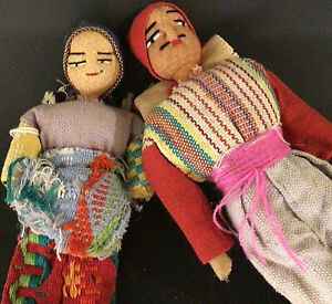 """MIDDLE EASTERN DOLL FIGURES HAND MADE MAN & WOMAN HAND STITCHED 8"""" AND 6"""""""