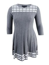 Jessica Howard Women's Plus Size Patterned Sweater Dress (2X, Grey)