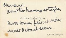 Jules LEFEBVRE peintre art 2 cartes autographes signées ET 3 photos oeuvre lot