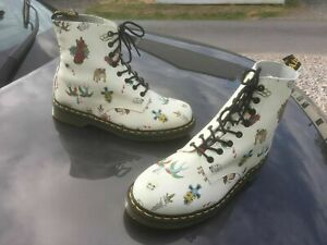Dr Martens 1460 tattoo white pascal leather boots UK 10 EU 45